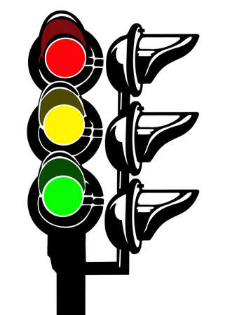 vector silhouette of the traffic light on white background Vector