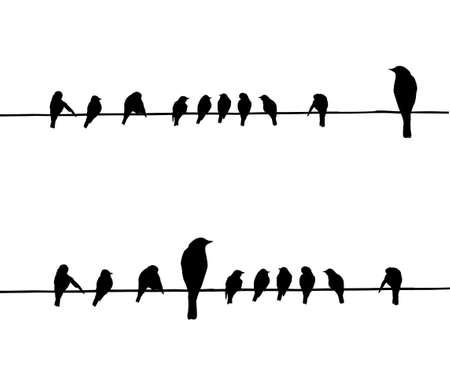 zwerm vogels: vector silhouetten van de vogels op draad