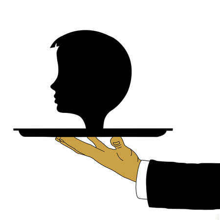 vector hand of the waiter with head on tray Vector