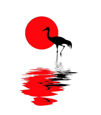 vector silhouette of the crane on solar background Vector