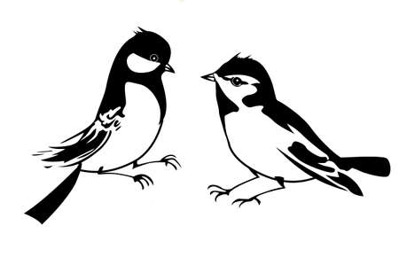 vector silhouette of the small bird on white background Vector