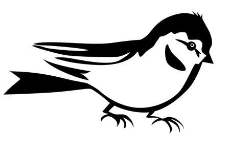 tomtit: vector silhouette of the small bird on white background