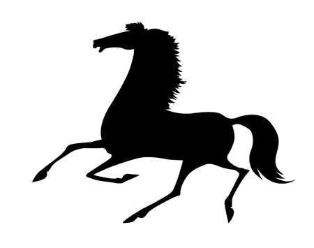 vector silhouette running horse on white background Vector