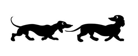 two objects: vector silhouette two dogs on white background Illustration