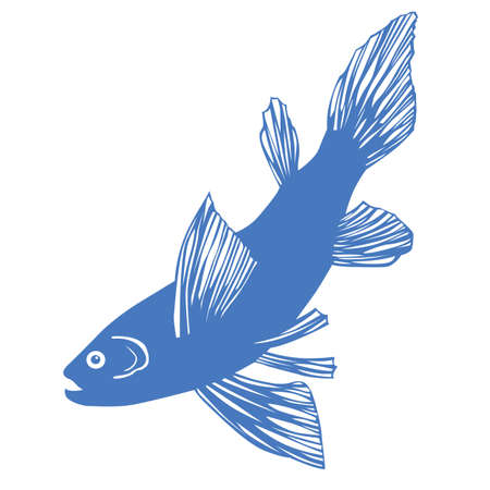 vector silhouette of fish on white background Stock Vector - 9166062