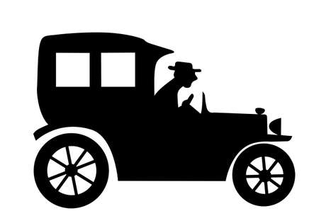 vector silhouette of the old-time car on white background Stock Vector - 9166047