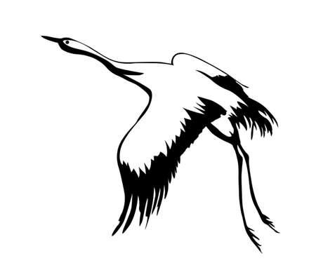 crane bird: vector silhouette flying crane on white background Illustration