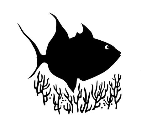 vector silhouette of sea fish on white background� Vector