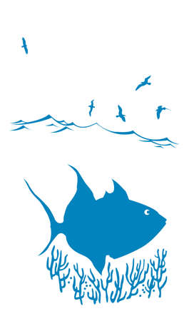 vector silhouette of sea fish on white backgroundì Vector