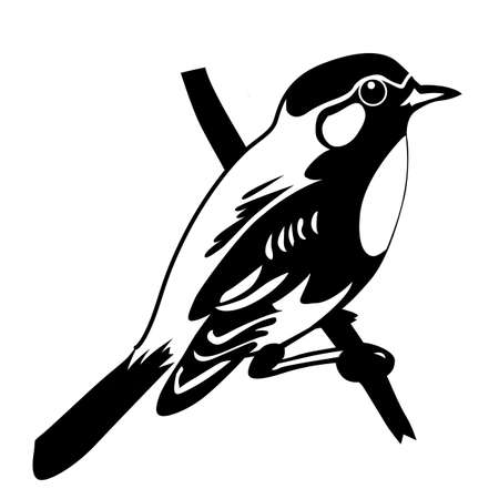 sparrow: vector silhouette of the bird on white background