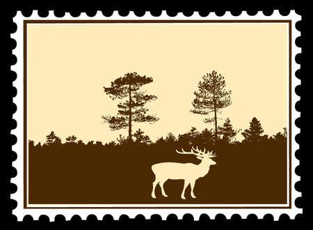 vector silhouette deer on postage stamps Vector