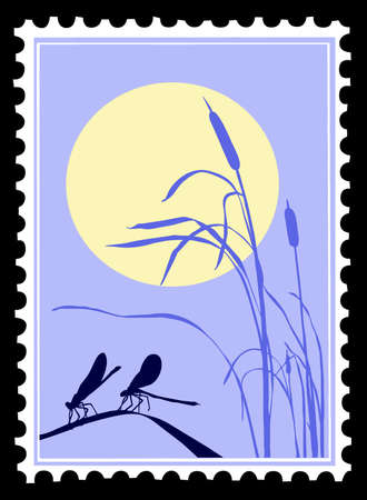 sedge: vector silhouette dragonfly on postage stamps