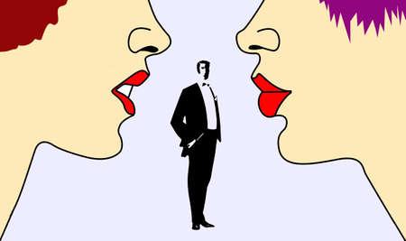 adversaire: vecteur silhouette deux womans sur fond blanc Illustration