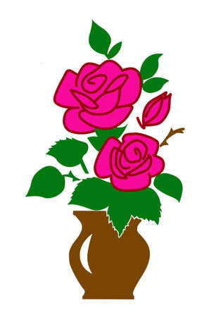 vector silhouette of the rose on white background Vector