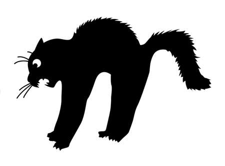 vector silhouette of the cat on white background Vector