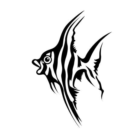 vector silhouette of sea fish on white background Vector