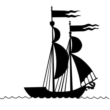 frigate: vector illustration of the old-time frigate on white background