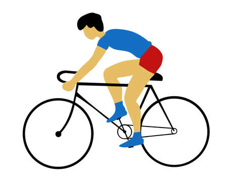 bicyclists: silhouette bicyclist on white background Illustration