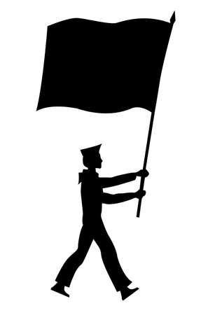 solemn: silhouette of the sailor with flag on white background