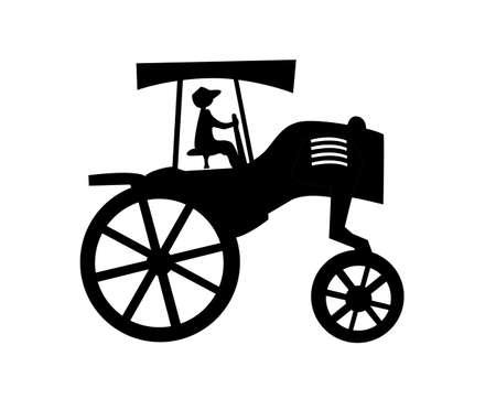 old tractor: silhouet van de oude trekker op witte achtergrond