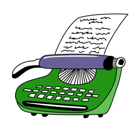 m�quina de escribir vieja: dibujo del tipo-escritor impreso sobre fondo blanco Vectores