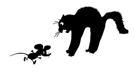 Silhouette of the cat on white background Vector