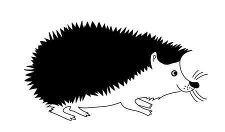 egel: silhouet hedgehog op witte achtergrond