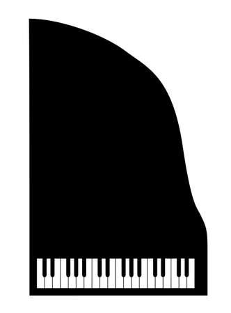 piano: piano de silueta sobre fondo blanco Vectores