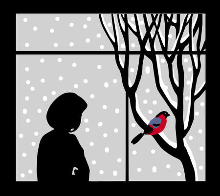 silhouette of the woman against window Stock Vector - 9492642