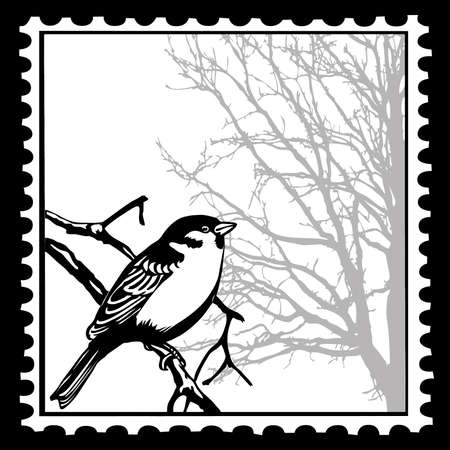 silhouette of the birds on postage stamps Vector