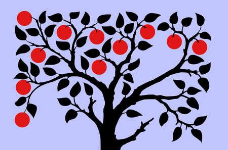 apple trees on turn blue background Vector