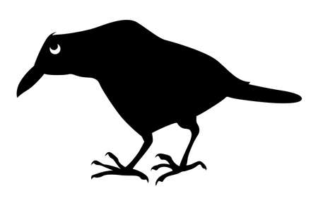 vector silhouette sick ravens on white background Vector