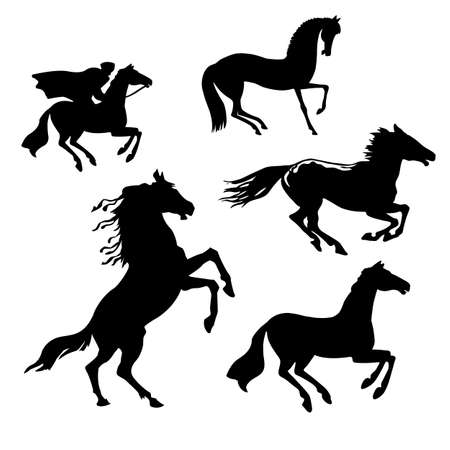 trotter: vector set of the horses on white background