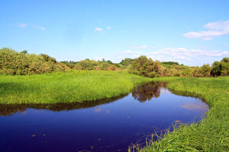 small river on summer field photo