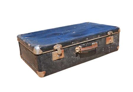 valise: old valise on white background