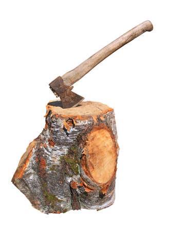 axe: old axe on white background