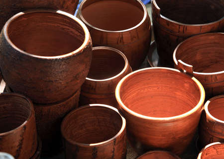wooden dishes on rural market photo