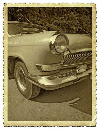 retro car on old photography photo