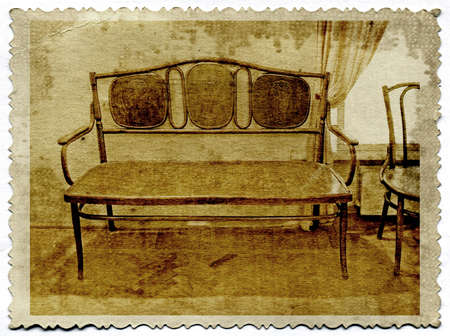 old-time furniture on grunge background photo