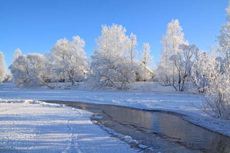 village is on coast to freeze river Stock Photo - 10811760
