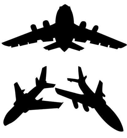 quick drawing:  silhouette plane isolated on white background