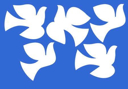 illustration dove isolated on  blue background illustration