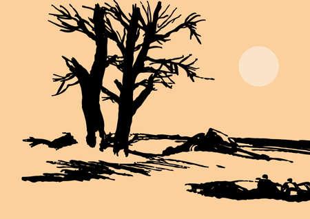 old tree on background sun photo