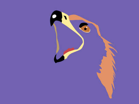 beak: silhouette of the head of the golden eagle on  blue background