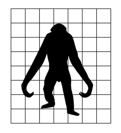 orangutang:  silhouette of the gorilla in hutch on white background Stock Photo