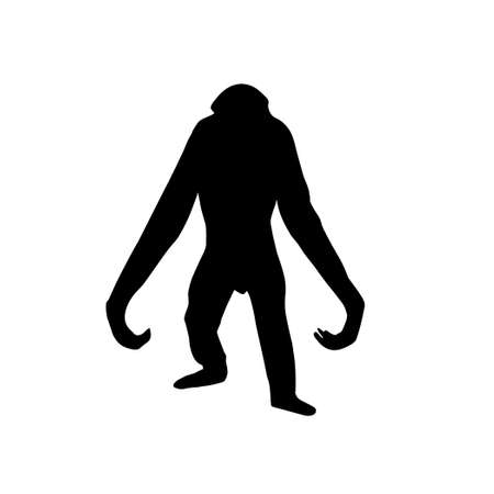 anthropomorphous: silhouette of the gorilla on white background Stock Photo
