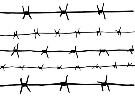 barb wire isolated:  drawing of the barbed wire