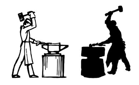 ancient blacksmith:  silhouette of the smith on white background