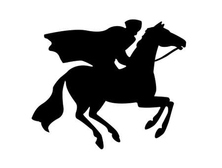 silhouette of the rider on white background photo