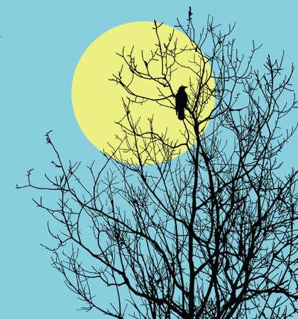 often: illustration ravens sitting on tree against sun Stock Photo